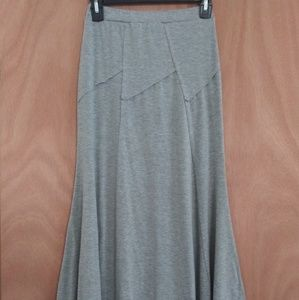 Gray Maxi Skirt with cool front seams design